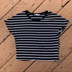 Zara | Black and White Striped Crop Top Tee